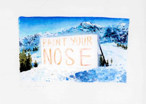 Ron Chen, Paint Your Nose, 2020, Watercolor and graphite on paper<br />